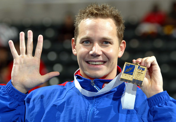 James Hickman with his world championships gold medal